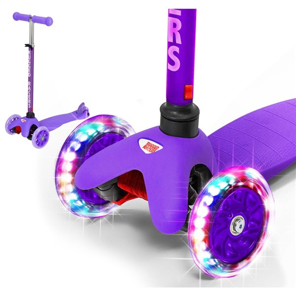 Rugged Racers 3-Wheel Purple with LED Lights Kids Scooter