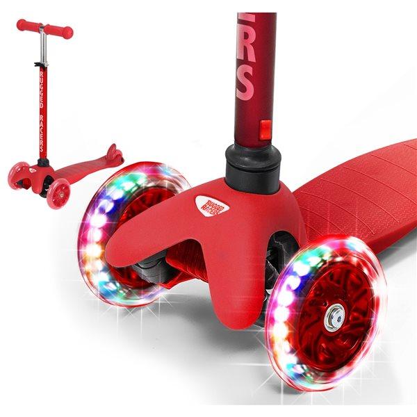 Trottinette pour enfants de Rugged Racers rouge à 3 roues avec lumières à DEL