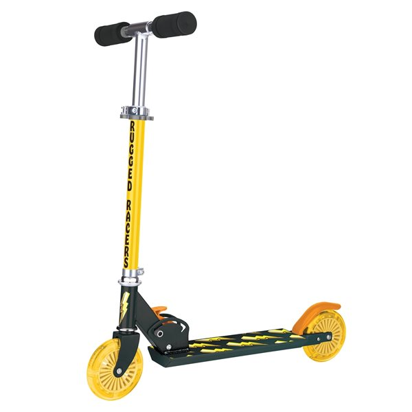 Rugged Racers 2-Wheel Yellow Lightning Design with LED Lights Kids Scooter