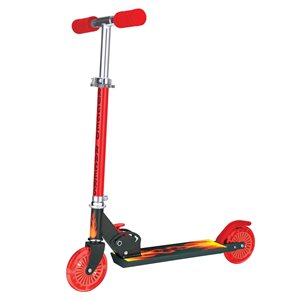 Rugged Racers 2-Wheel Red Fire Flame Design with LED Lights Kids Scooter