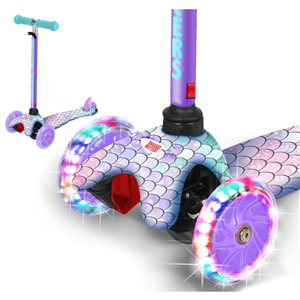 Rugged Racers 3-Wheel Purple Mermaid Design with LED Lights Kids Scooter