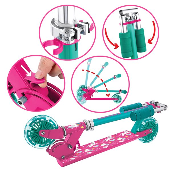 Rugged Racers 2-Wheel Pink Unicorn Design with LED Lights Kids Scooter