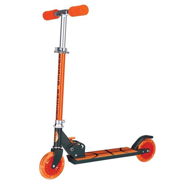 Trottinette pour enfants de Rugged Racers orange à 2 roues avec design de ballon de basketball et lumières à DEL