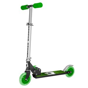 Rugged Racers 2-Wheel Green Soccer Design with LED Lights Kids Scooter