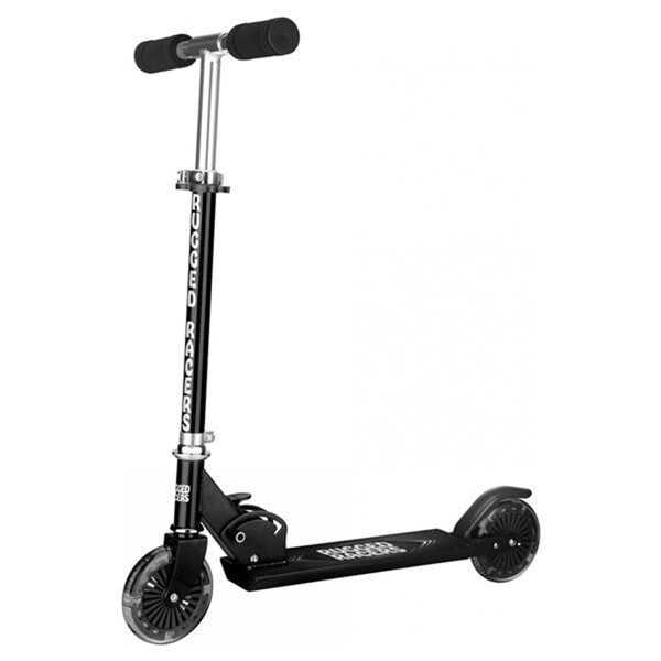 Rugged Racers 2-Wheel Black with LED Lights Kids Scooter