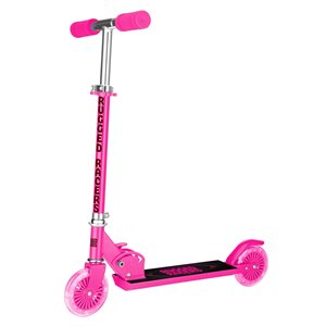 Rugged Racers 2-Wheel Pink with LED Lights Foldable Kids Scooter