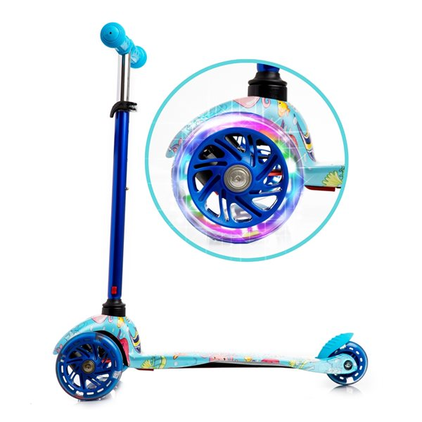 Rugged Racers 3-Wheel Blue Sea World Design with LED Lights Kids Scooter
