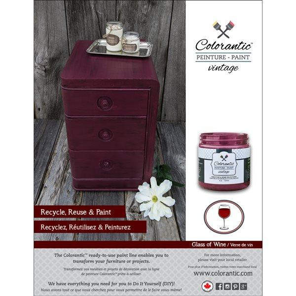 Peinture à la craie Verre de vin par Colorantic, bourgogne, échantillon