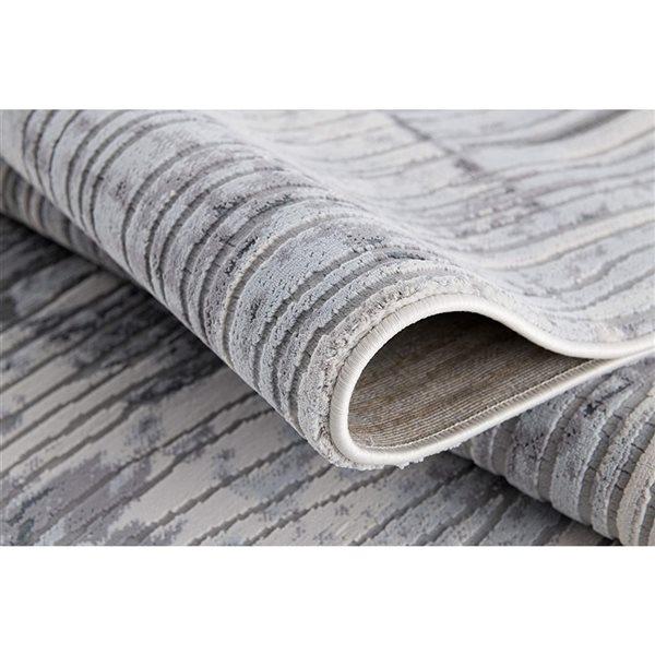 Tapis Oasis par Rug Branch rectangulaire de 9pi x 12pi, motif abstrait, gris
