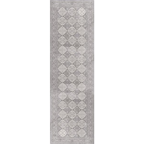 Rug Branch Oasis2-ft x6-ft Grey Rectangular Indoor Abstract Runner