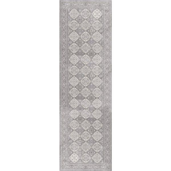 Rug Branch Oasis2-ft x13-ft Grey Rectangular Indoor Abstract Runner