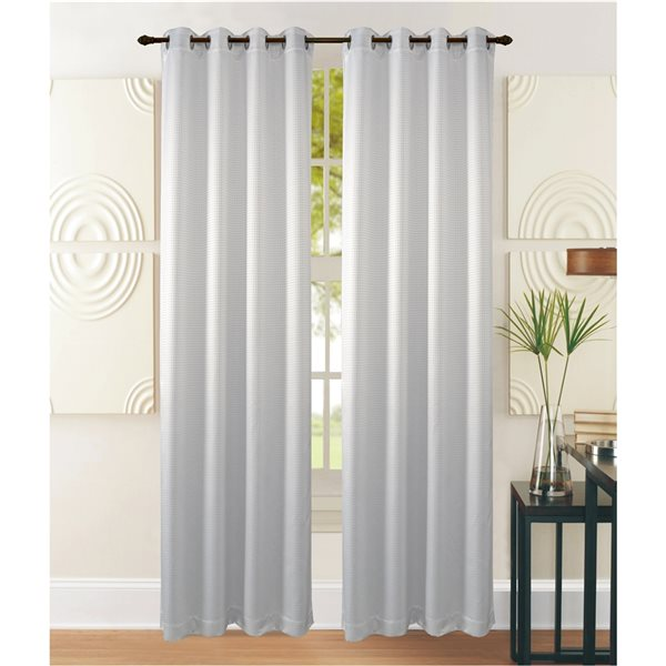 Marina Decoration 84-in White Polyester Blackout Standard Lined Curtain Panel Pair