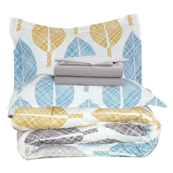 Marina Decoration White/Grey Floral Queen Comforter Set - 7-Piece