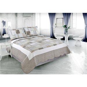 Ensemble de courtepointe taupe pour lit simple Marina Decoration, 2 pièces