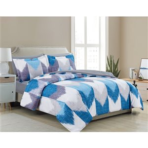 Marina Decoration Blue/White Geometric Queen Comforter Set - 7-Piece