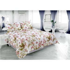 Marina Decoration White/Red Floral Twin Quilt Set - 2-Piece