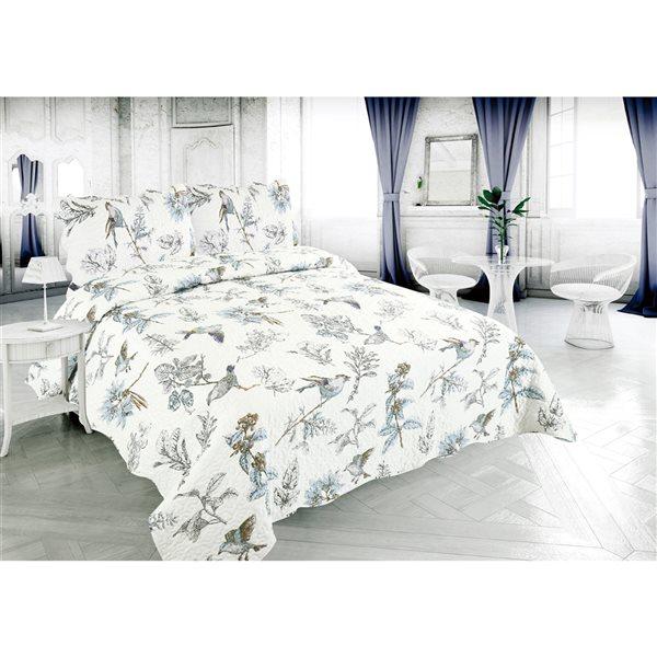Marina Decoration White/Blue Floral Twin Quilt Set - 2-Piece