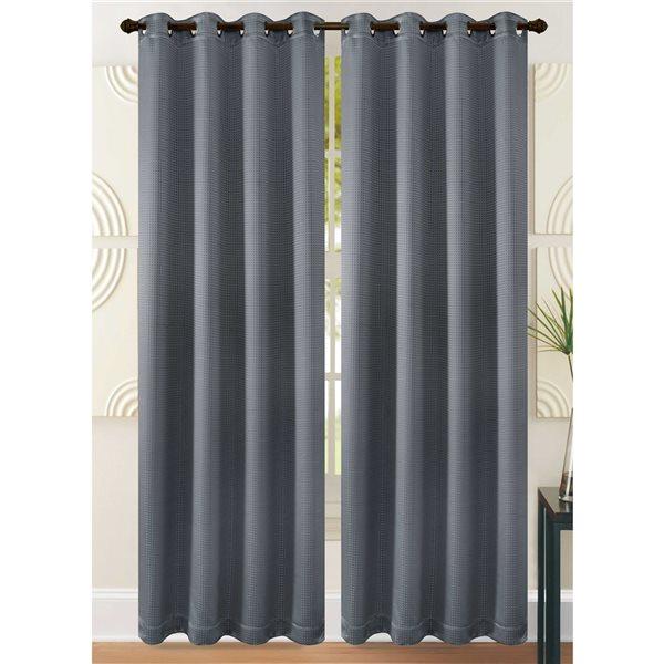 Paire de panneaux de rideau en polyester gris occultant Marina Decoration de 95 po à doublure standard