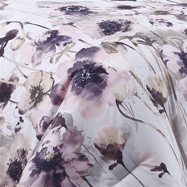 Ensemble douillette au motif floral blanc et mauve Marina Decoration pour lit simple, 5 pièces