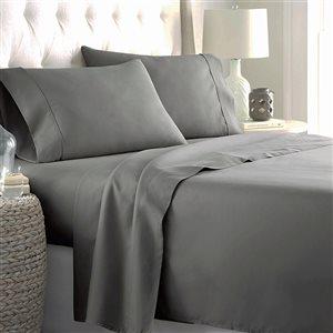 Ensemble de draps 4 pièces pour très grand lit Marina Decoration en mélange de coton, gris