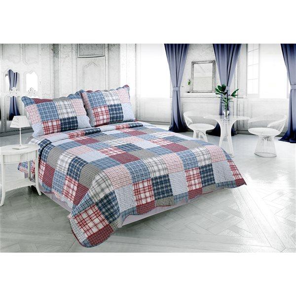 Ensemble de courtepointe bleu marine et rouge Marina Decoration pour lit une place, 2 pièces