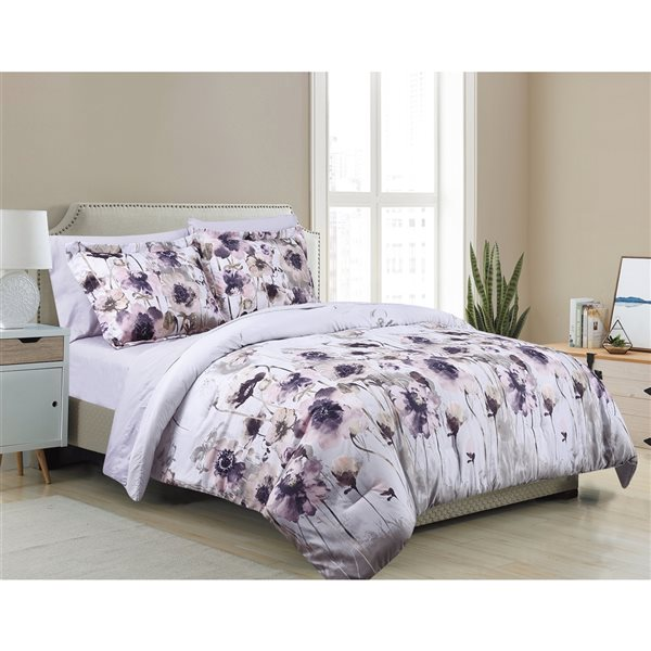 Marina Decoration White/Purple Floral King Comforter Set - 7-Piece