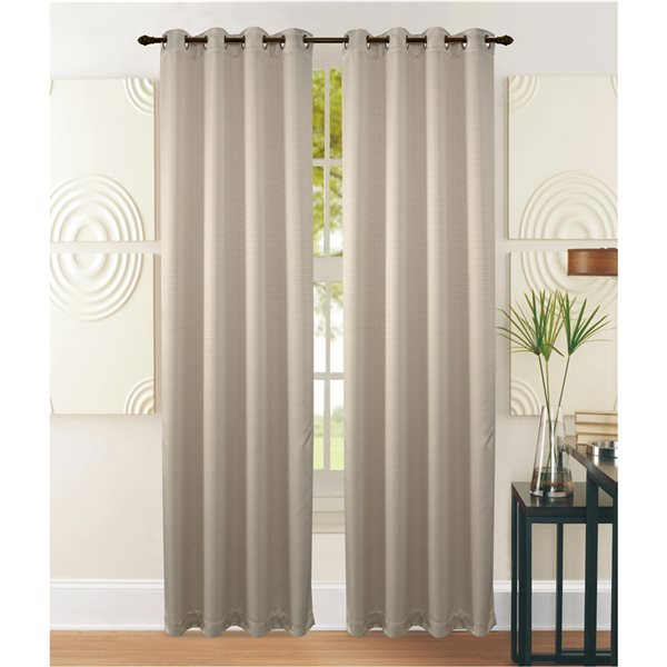 Marina Decoration 95-in Beige Polyester Blackout Standard Lined Curtain Panel Pair
