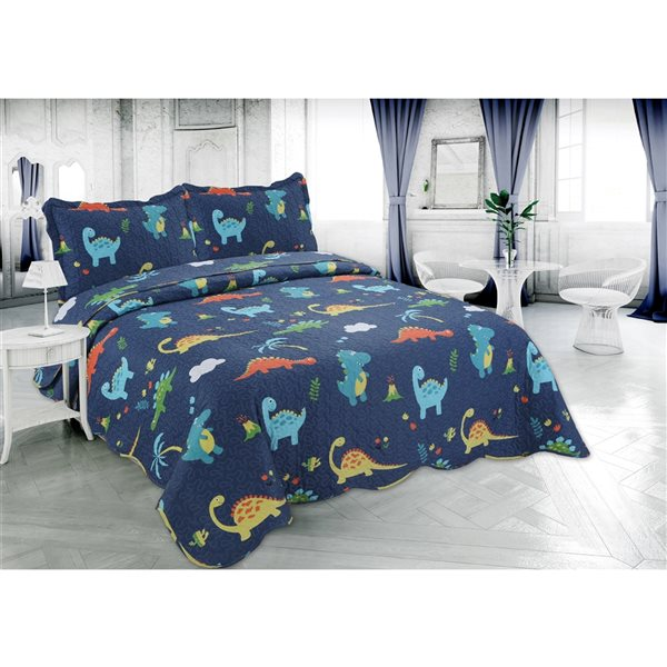 Marina Decoration Blue Kids Twin Quilt Set - 2-Piece