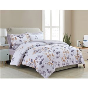 Marina Decoration White/Gold Floral Queen Comforter Set - 7-Piece