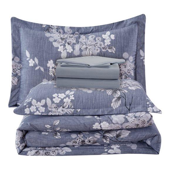 Ensemble douillette au motif floral bleu-gris Marina Decoration pour grand lit, 7 pièces