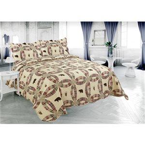 Ensemble de courtepointe crème et beige Marina Decoration pour lit à une place, 2 pièces