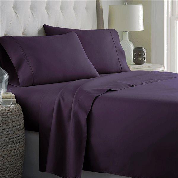 Ensemble de draps 4 pièces pour grand lit Marina Decoration en mélange de coton, aubergine