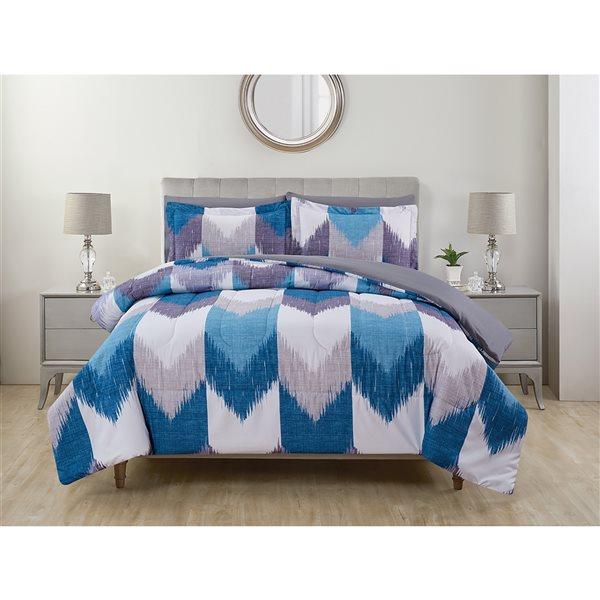 Marina Decoration Blue/White Geometric Twin Comforter Set - 5-Piece