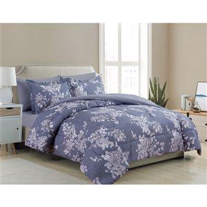 Marina Decoration Grey Blue Floral King Comforter Set - 7-Piece