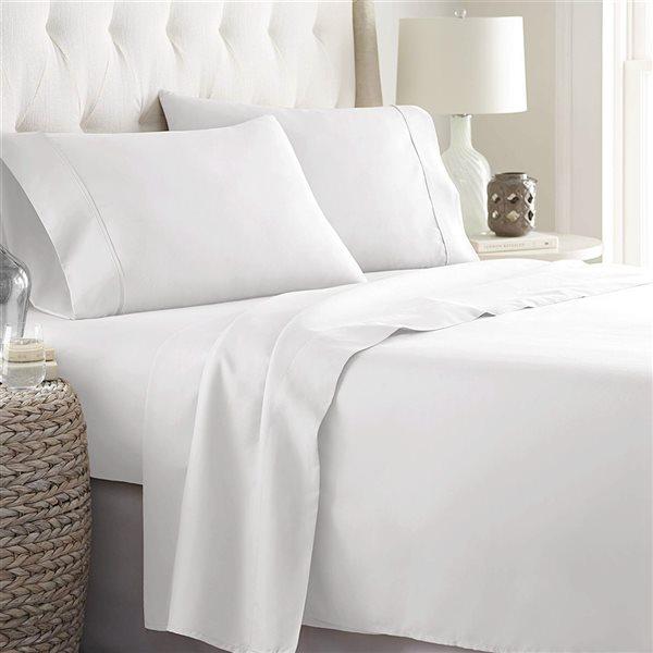 Ensemble de draps 4 pièces pour très grand lit Marina Decoration en mélange de coton, blanc