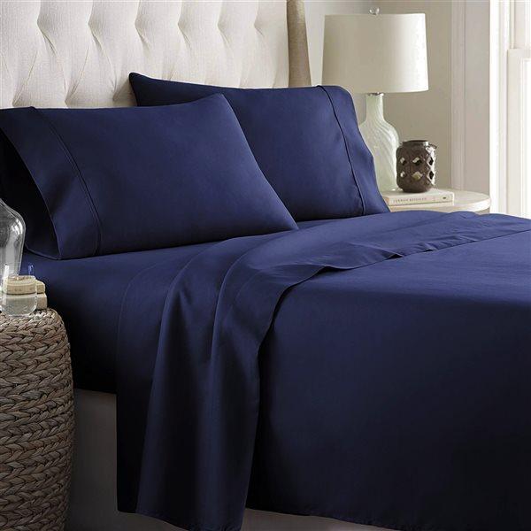 Marina Decoration King Cotton Blend 4-Piece Bed Sheets - Navy Blue