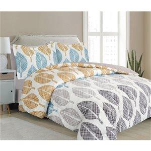Ensemble douillette au motif floral gris et blanc Marina Decoration pour très grand lit, 7 pièces