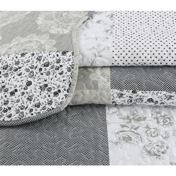 Ensemble de courtepointe au motif floral gris Marina Decoration pour lit une place, 2 pièces
