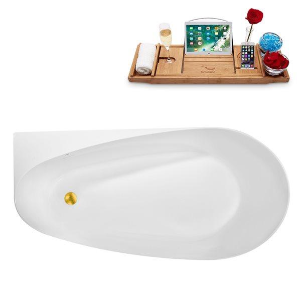 Baignoire autoportante ovale en acrylique avec drain centré de Streamline, 28,7 po x 59,1 po, blanc