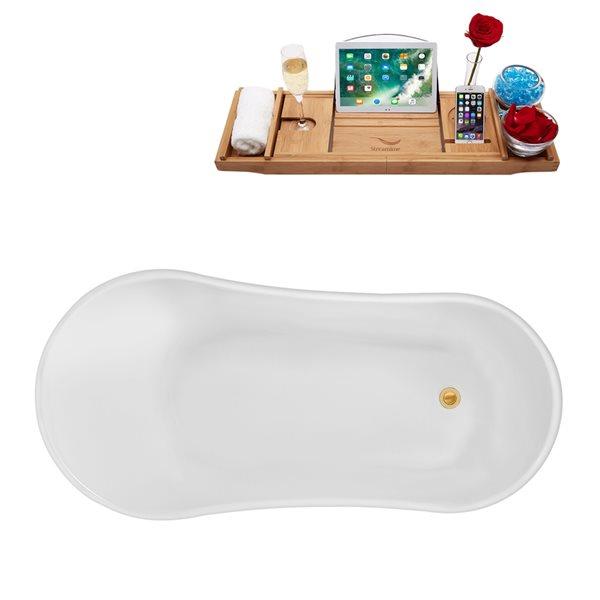 Baignoire sur pattes ovale en acrylique avec plateau et drain réversible par Streamline, 31,5 po x 66,9 po, blanc