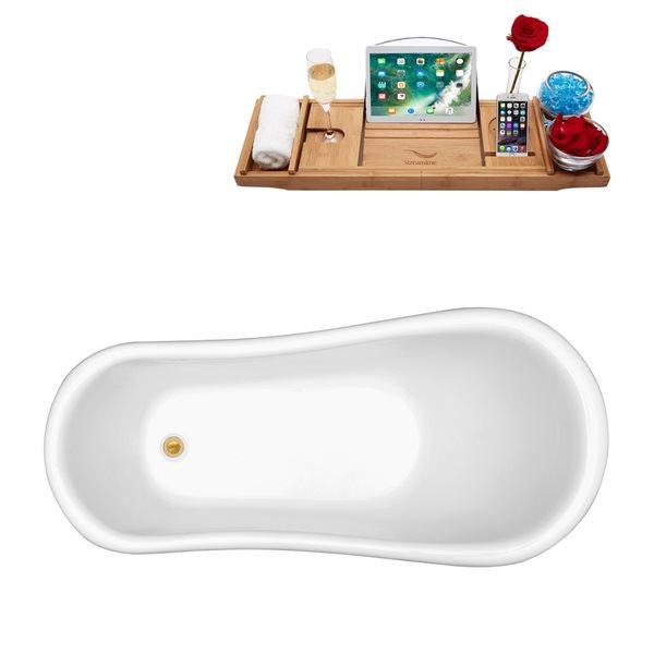 Baignoire sur pattes ovale en acrylique avec drain réversible de Streamline, 27,6 po x 61 po, blanc