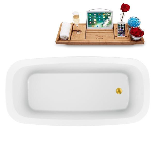 Baignoire autoportante ovale en acrylique avec drain réversible et plateau de Streamline, 28,3 po x 59,1 po, blanc