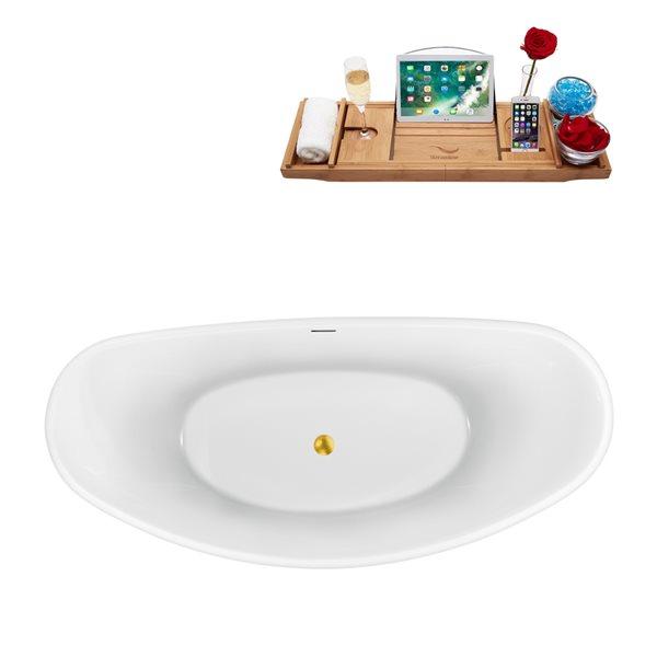 Baignoire autoportante ovale en acrylique avec drain centré de Streamline, 29,9 po x 63 po, blanc