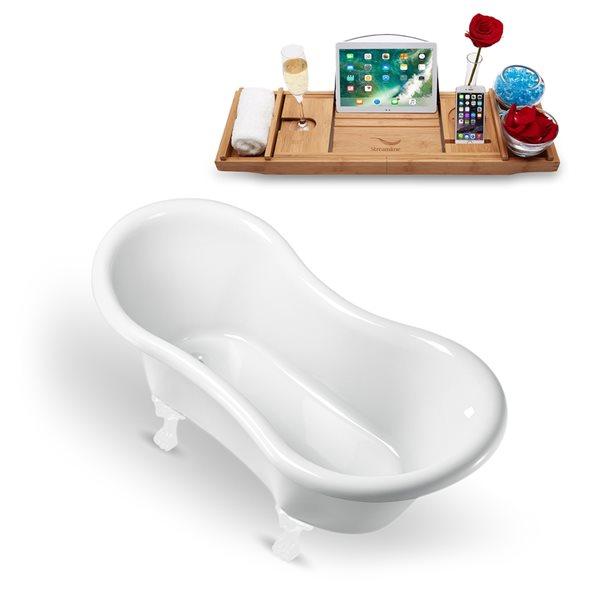 Baignoire sur pattes ovale en acrylique avec drain réversible et plateau par Streamline, 30,7 po x 62,2 po, blanc