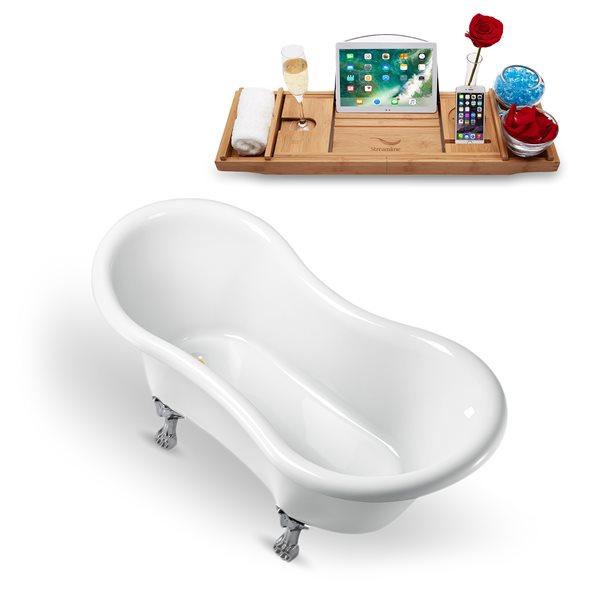 Baignoire sur pattes ovale en acrylique blanc avec drain réversible par Streamline, 30,7 po x 62,2 po