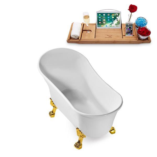 Baignoire sur pattes ovale en acrylique avec plateau et drain réversible par Streamline, 28,3 po x 63 po, blanc