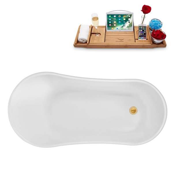 Baignoire sur pattes ovale en acrylique avec plateau et drain réversible de Streamline, 26,8 po x 55,1 po, blanc