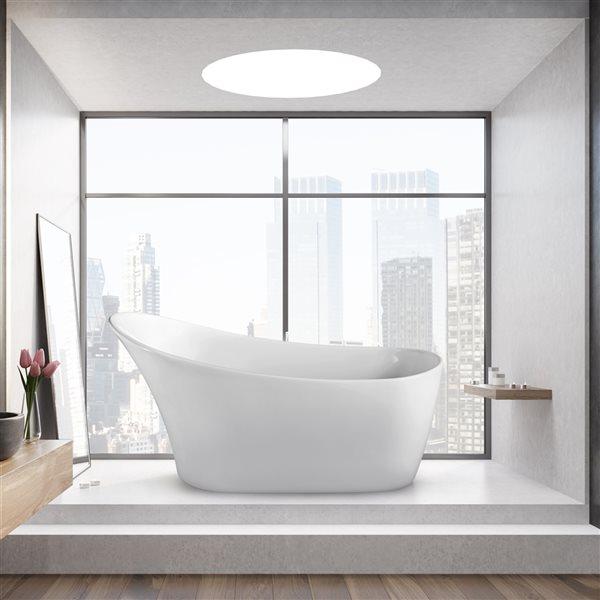 Baignoire autoportante ovale en acrylique avec drain réversible de Streamline, 29,5 po x 63 po, blanc