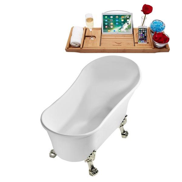 Baignoire sur pattes ovale en acrylique avec plateau et drain réversible de Streamline, 27,6 po x 59,1 po, blanc