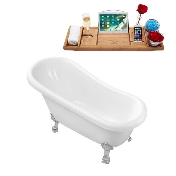 Baignoire sur pattes ovale en acrylique avec drain réversible et plateau par Streamline, 27,6 po x 61 po, blanc